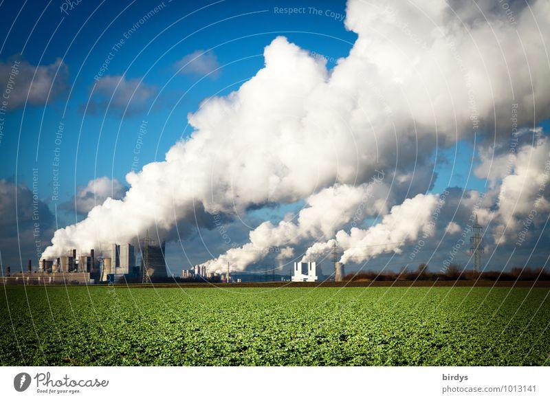 Kohlekraftwerk Klimawandel blau grün weiß Wolken Energiewirtschaft Feld authentisch bedrohlich Schönes Wetter Industrie Landwirtschaft viele Rauchen