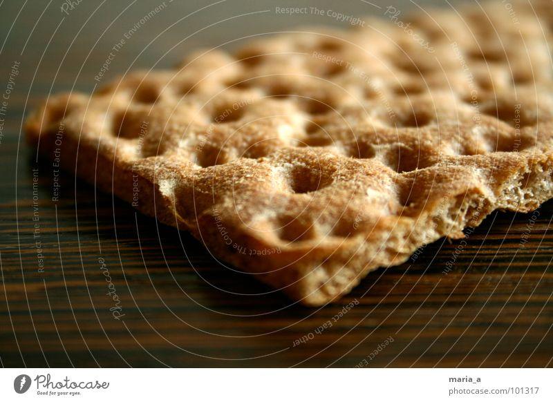 Knäckebrot Lebensmittel Loch hart lecker Holz Oberfläche Mehl Backwaren Mahlzeit brechen trocken zerbrechlich Ernährung Cross knuspig Maserung wasa frühsück