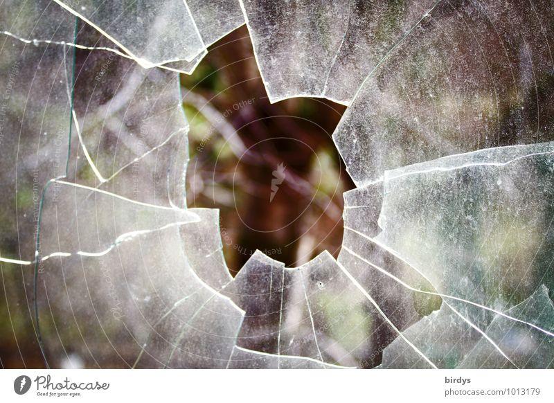 der Durchbruch Fensterscheibe Glas Loch authentisch kaputt Wut Aggression bedrohlich Wandel & Veränderung Zerstörung Scherbe Scharfer Gegenstand zerborsten