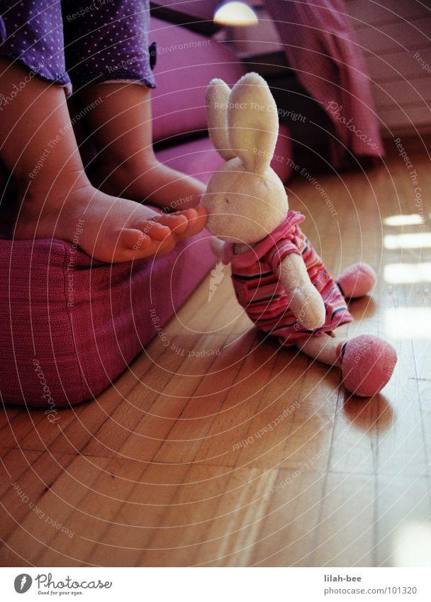 Schnüffler Hase & Kaninchen rosa Kleinkind Kind violett Spielzeug Hasenohren Zehen Kinderzimmer Fuß Käsefüße Punkt Geruch Übelriechend Osterhase Barfuß