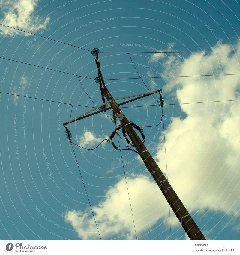 Stromversorger III Elektrizität Kabel Oberleitung Versorgung Monopol Industrie Medien Stromversorgung Energiewirtschaft Verbindung Strommast verrückt Netz