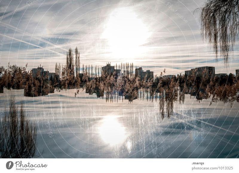 2300 | Horizont Stil Design Ausflug Natur Landschaft Himmel Sonne Pflanze Baum Sträucher Haus schön verrückt Perspektive Surrealismus Symmetrie Farbfoto