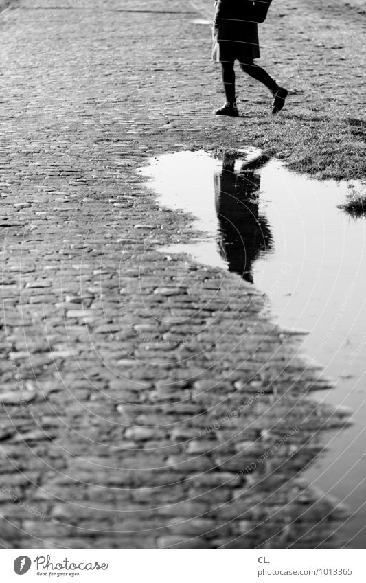 spiegelung Mensch feminin Frau Erwachsene Leben Beine 1 Umwelt Wasser Herbst Winter Klima Klimawandel Wetter schlechtes Wetter Regen Pfütze Kopfsteinpflaster