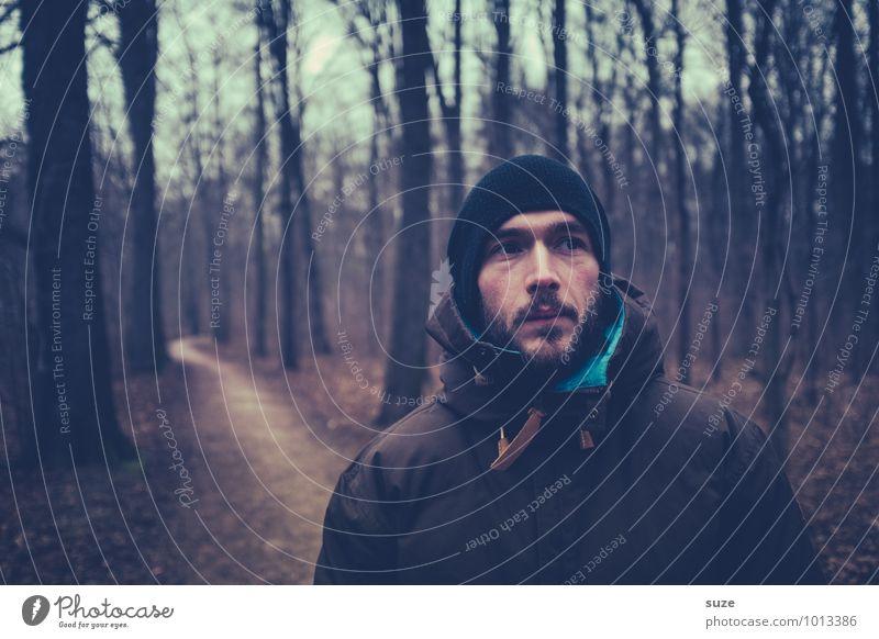 Ernst der Lage Mensch Natur Jugendliche Mann Baum Einsamkeit Landschaft Junger Mann 18-30 Jahre Winter Wald kalt Erwachsene Gesicht Herbst Kopf