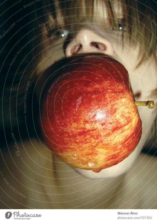 Apfel-Tauchen Frau Wasser Freude Ernährung Spielen Essen Frucht Schalen & Schüsseln beißen