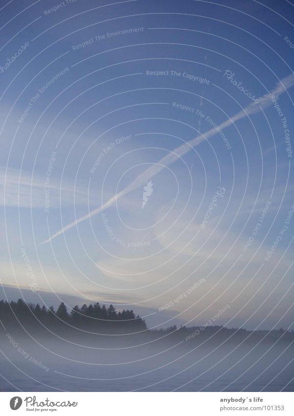 Klare Sicht 01 Himmel blau Einsamkeit Winter Wolken Wald Landschaft Wiese Wellen Nebel Streifen Vertrauen unklar