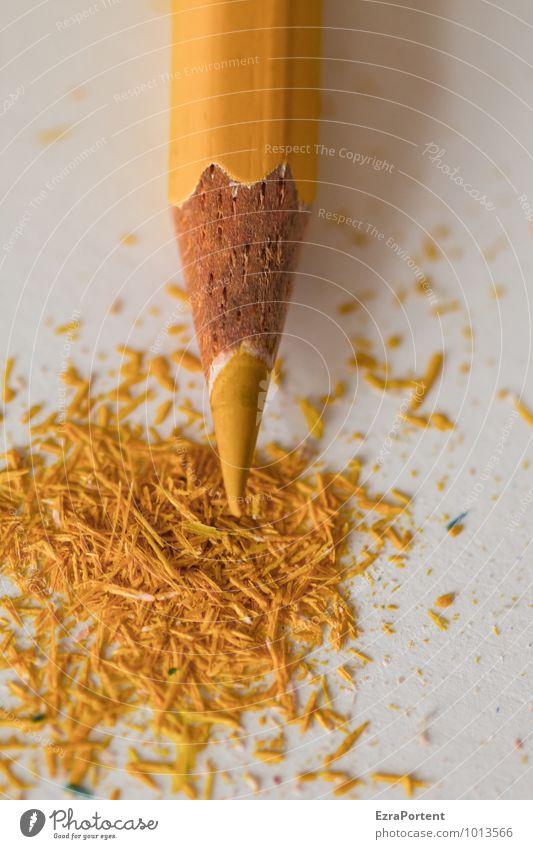 gelb Freizeit & Hobby Tisch Arbeit & Erwerbstätigkeit Arbeitsplatz Büro Papier Schreibstift weiß Farbe Farbstift zeichnen Anspitzer Rest Spitze Holz Mine