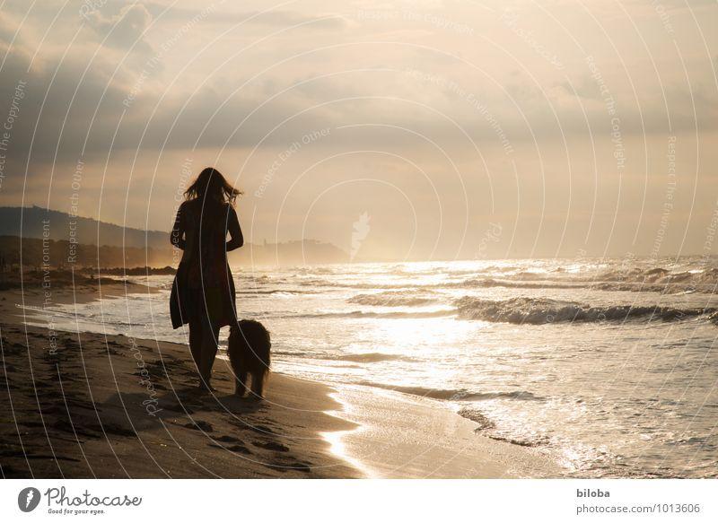 Frau mit Hund entspannen sich bei Abendspaziergang am Strand Lifestyle Wellen harmonisch Wohlgefühl Zufriedenheit Erholung ruhig Duft Freizeit & Hobby Meer