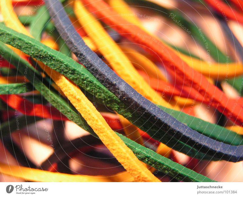 Wirrwarr blau grün Farbe rot gelb orange Industrie durcheinander Haushalt schließen beweglich Gummi Schreibwaren Verschluss praktisch elastisch