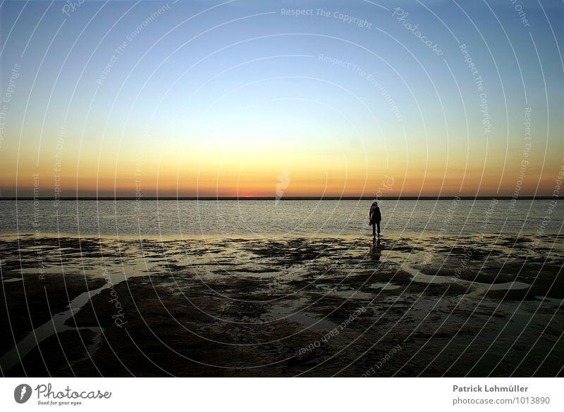 Tagesende Mensch Himmel Natur Wasser Sommer Erholung Einsamkeit Landschaft ruhig Strand Erwachsene Bewegung Küste feminin gehen Stimmung