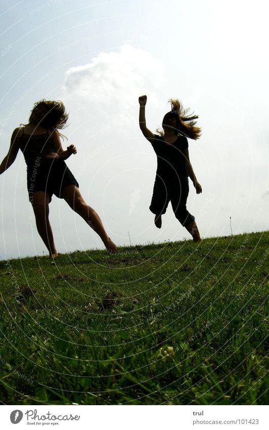 tanz mit mir Wiese Wolken Freude Himmel Tanzen shake Haare & Frisuren