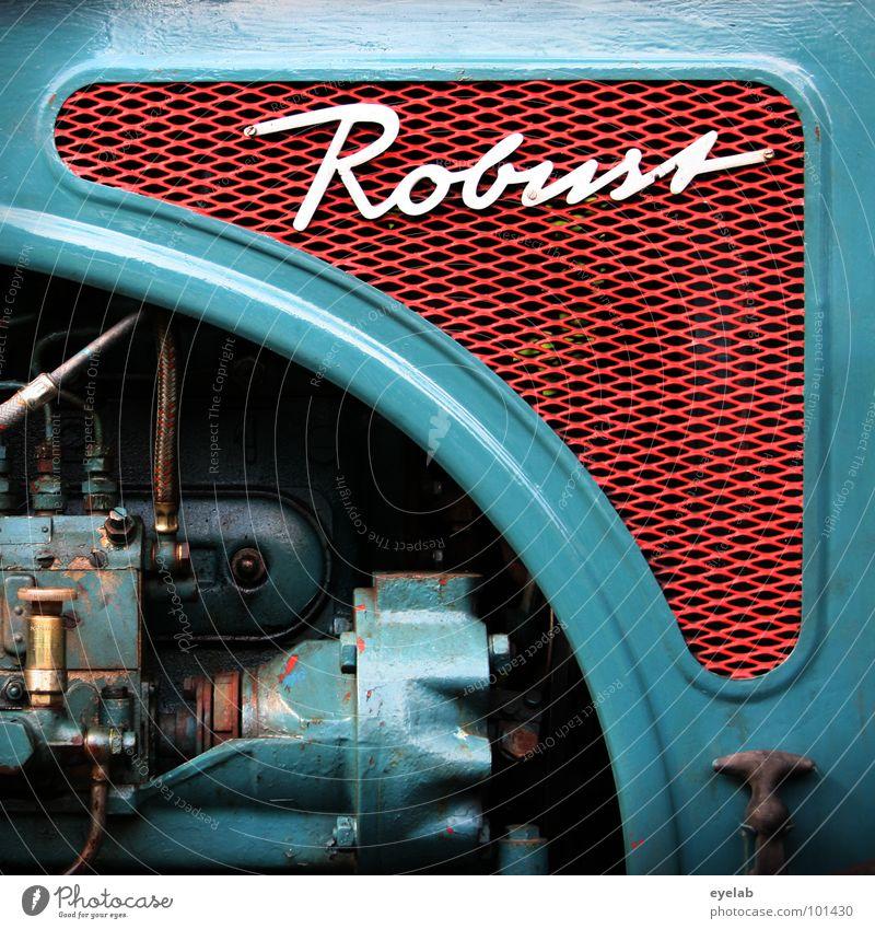 GANZ SCHÖN ROBUST ! Typographie Schnörkel Logo Design Traktor retro Fünfziger Jahre Sechziger Jahre türkis grün Landwirtschaft Fahrzeug Maschine Motor Landei