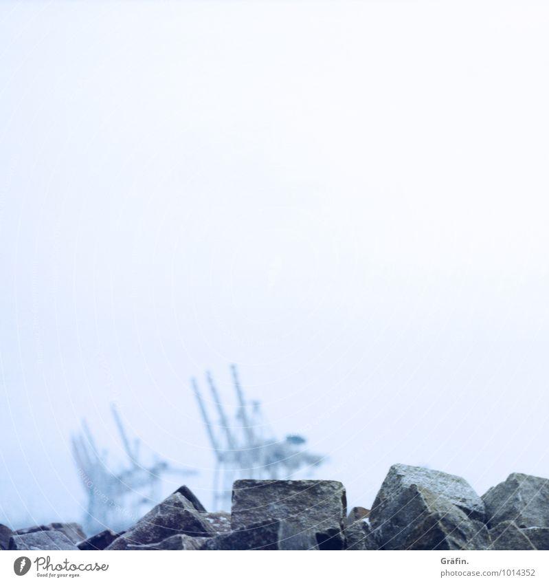 Nebelkrä(h)ne Industrie Winter schlechtes Wetter Regen Flussufer Hafenstadt Menschenleer Schifffahrt maritim blau grau Leistung Perspektive