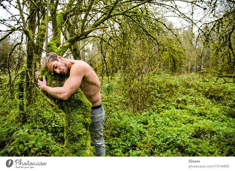 Naturverbunden Jugendliche Pflanze Baum Landschaft ruhig Junger Mann 18-30 Jahre Umwelt Erwachsene Herbst natürlich Zusammensein maskulin träumen Idylle