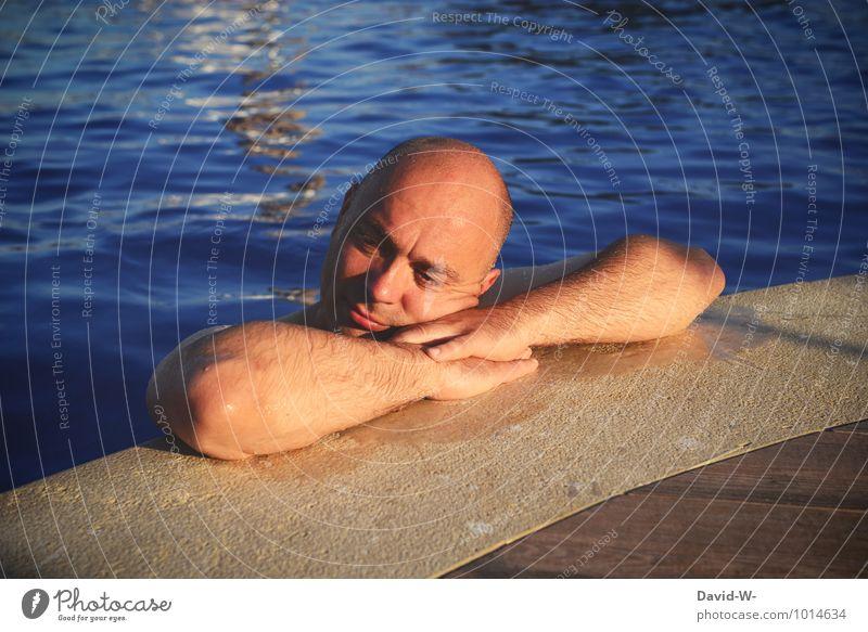Wellnessurlaub Ferien & Urlaub & Reisen Mann schön Erholung ruhig Erwachsene Leben Gesundheit Schwimmen & Baden maskulin Zufriedenheit Tourismus 45-60 Jahre Wellness Männlicher Senior sportlich
