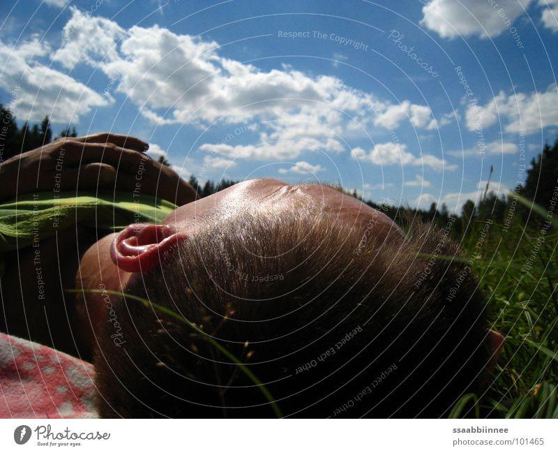 Wolkenträume Mann Hand Himmel Sommer Erholung Gras träumen Kopf Zufriedenheit schlafen Pause Frieden Freizeit & Hobby Sonntag friedlich