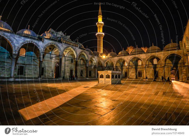Moschee Himmel Ferien & Urlaub & Reisen Stadt blau schwarz Fenster gelb Architektur Religion & Glaube Fassade Tourismus Platz Europa Kirche Turm Dach