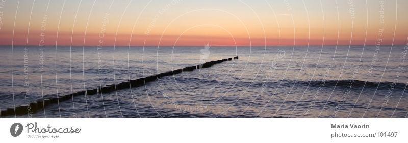 Panorama-Ostseefeeling Meer See Wellen Steg Sonnenuntergang Abendsonne Panorama (Aussicht) Ebbe Wasser nass Ferien & Urlaub & Reisen Sommer Strand Erholung