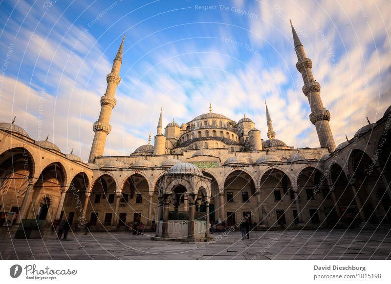 Moschee Ferien & Urlaub & Reisen Tourismus Sightseeing Städtereise Stadt Stadtzentrum Palast Fassade Dach Sehenswürdigkeit Wahrzeichen Denkmal blau gelb grau