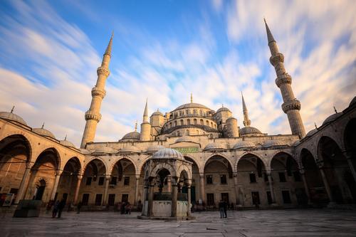 Moschee Himmel Ferien & Urlaub & Reisen Stadt blau weiß Wolken gelb grau Religion & Glaube Fassade Tourismus Dach Turm Denkmal Wahrzeichen