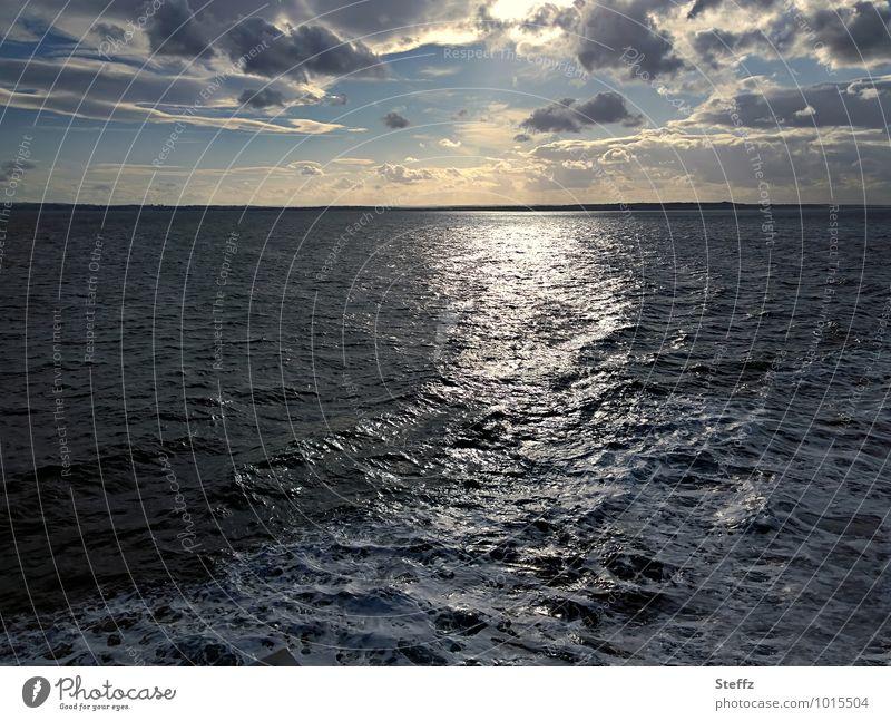 Auf zu neuen Ufern! Nordsee Ferne Kreuzfahrt Meer Wellen Wasser Fernweh Urelemente Himmel Wolken Schönes Wetter Küste Seeufer maritim Stimmung ruhig