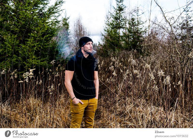 Herbst im Winter Natur Jugendliche grün Baum Erholung Landschaft ruhig Junger Mann Umwelt gelb Erwachsene natürlich Stil Lifestyle