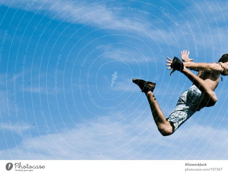 Fallschirm vergessen! Himmel Freude Ferne Spielen Freiheit springen Luft Fahrrad fliegen hoch frei Beginn Flugzeug fallen Unendlichkeit Sturz