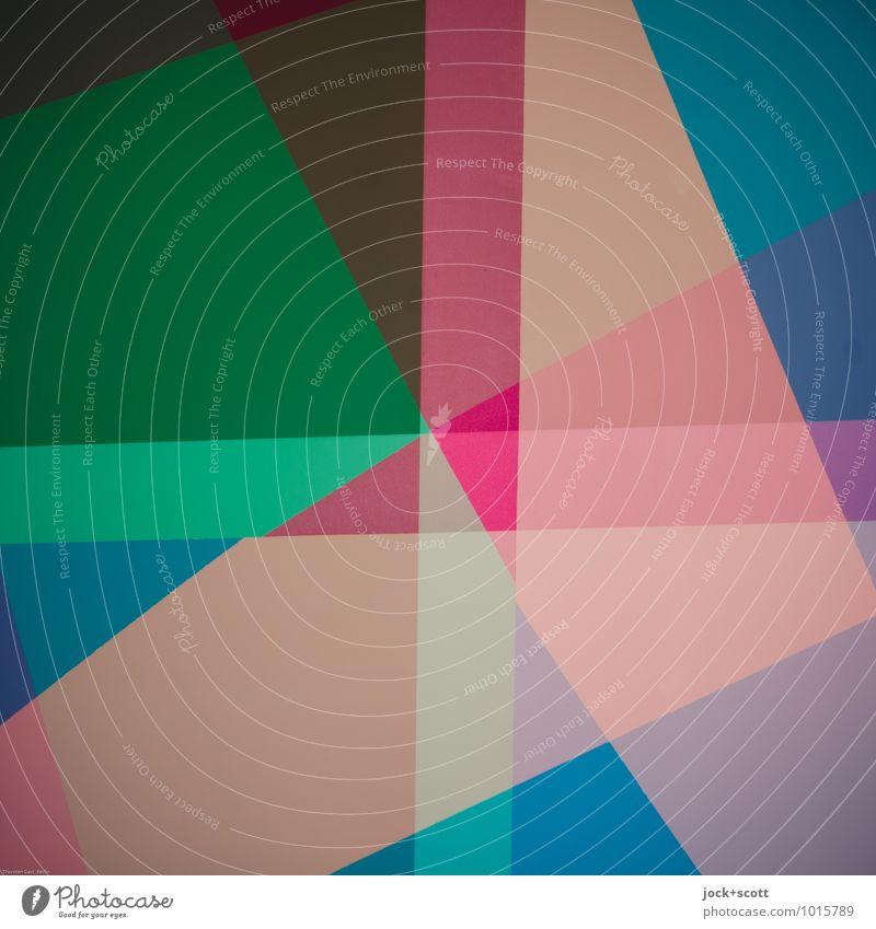 Farbraum bunte Mischung Design Grafik u. Illustration Dekoration & Verzierung Kreuz Netzwerk Geometrie Strukturen & Formen Grenze Plus eckig trendy einzigartig
