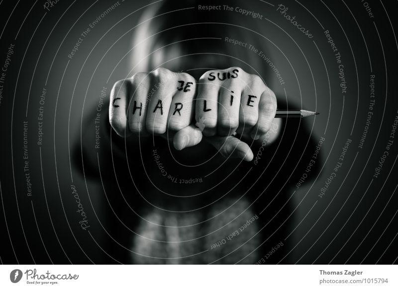 JE SUIS CHARLIE Freiheit Finger malen Symbole & Metaphern Frieden Frankreich Wort Paris Schreibstift Text Comic Printmedien Bleistift Faust protestieren