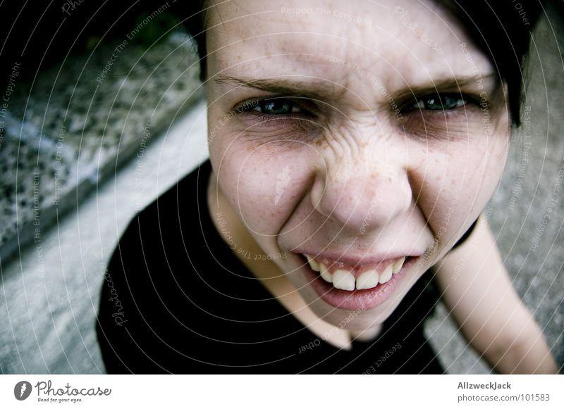 Hä?! Frau Freude Gesicht Kommunizieren dumm Fragen Verzerrung Unglaube unverstanden