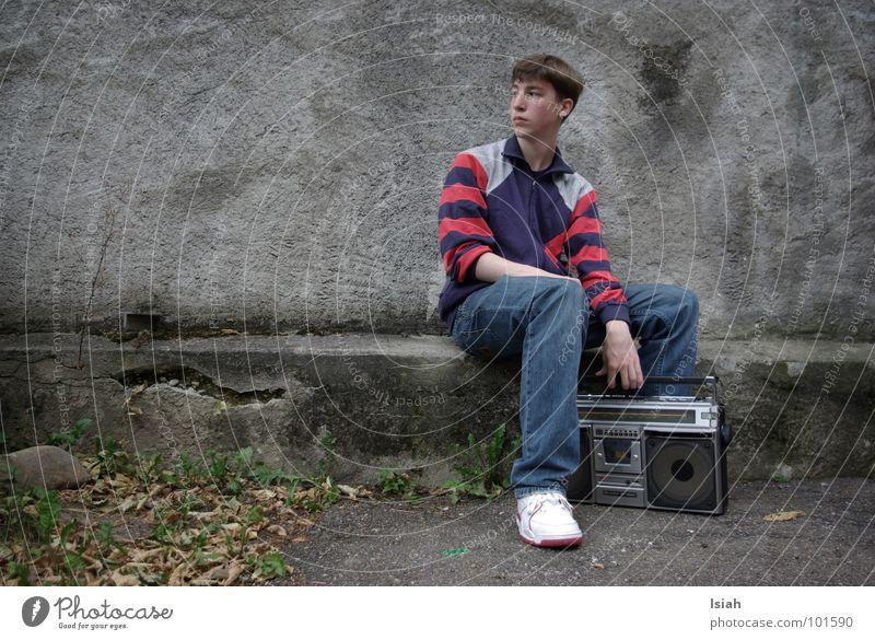 the chosen one to speak kalt Musik retro Jeanshose Freizeit & Hobby Konzert Radio Hiphop Kick old-school Ghettoblaster Musik hören