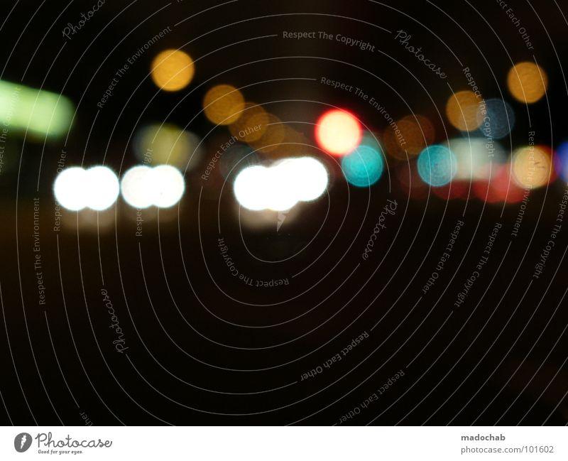 NIGHTRIDIN' Licht dunkel Unschärfe Nacht schwarz Lampe Lichtpunkt Optiker Fehler Brille Brillenträger Verhext Spielen schön mehrfarbig additive Farbmischung RGB