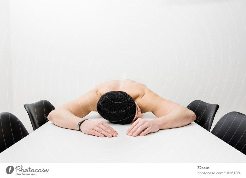 Burn Out Jugendliche Einsamkeit Junger Mann ruhig Erwachsene Traurigkeit sprechen Stil Denken Gesundheitswesen liegen träumen maskulin Business Design elegant