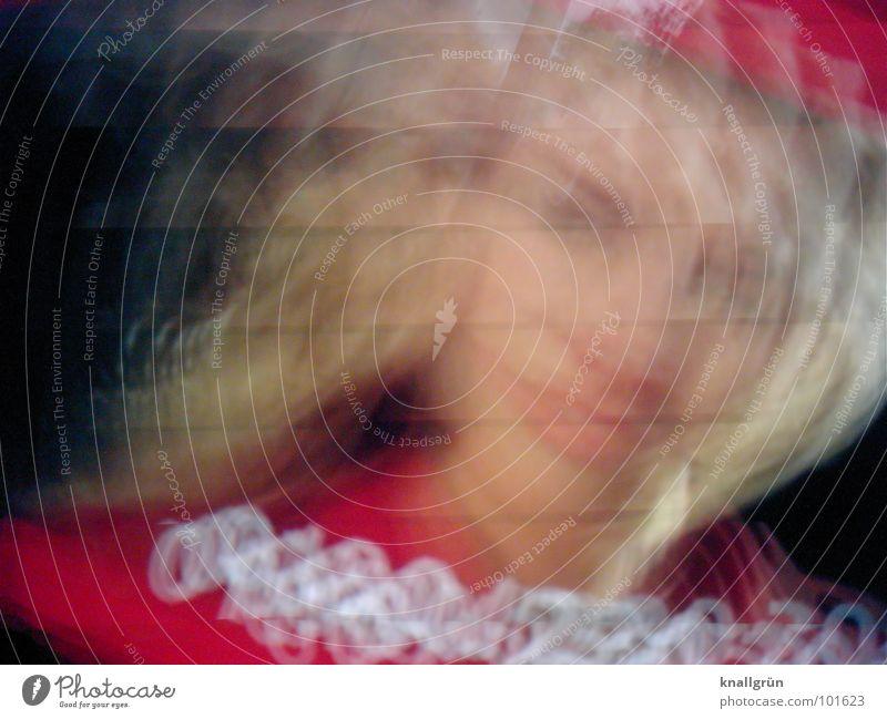 Blond blond Frau rot Aussehen Freude schön Fotokunst Gesicht lachen Unschärfe