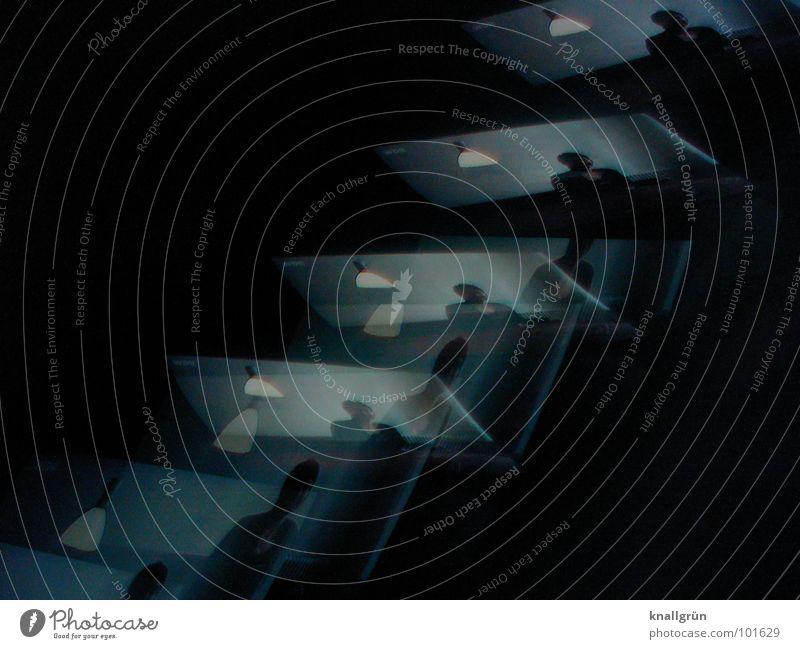 Lampen-Leporello Mann Farbe dunkel Fernsehen Reihe blau-grau