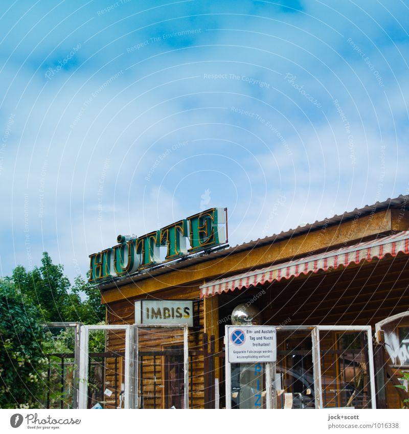 Imbisshütte Himmel Freude braun oben Fassade Perspektive Kreativität Idee Schönes Wetter einzigartig Ziel trendy Wort trashig Eingang diagonal