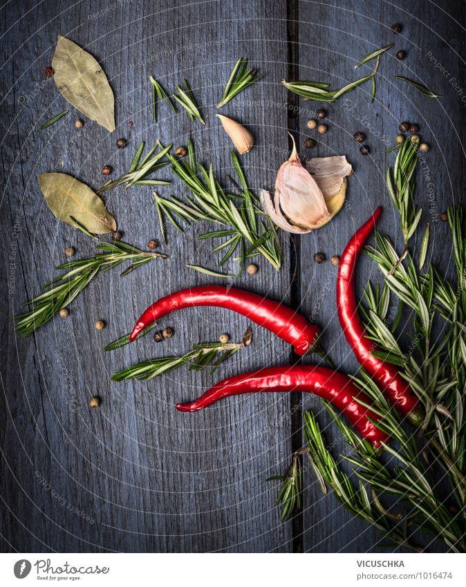 Rot Chili und Rosmarin mit Gewürzen Natur blau grün rot dunkel Leben Stil Hintergrundbild Lebensmittel Design Ernährung Scharfer Geschmack