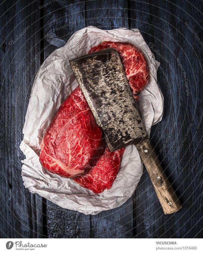 roher Rindfleisch und alter Spalter Messer blau rot schwarz Stil Lebensmittel Design Ernährung Papier retro Kochen & Garen & Backen silber Fleisch Schulter