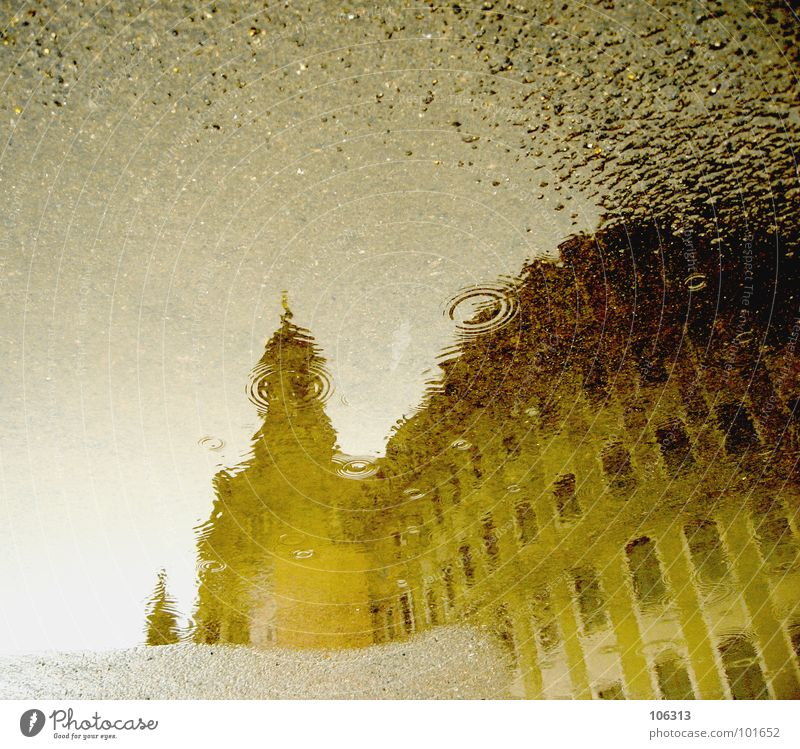 AKTUELLE WETTERLAGE Wasser Regen Religion & Glaube Kunst Architektur Wassertropfen nass frisch Perspektive Asphalt Dresden Flüssigkeit Denkmal blasen Bauwerk