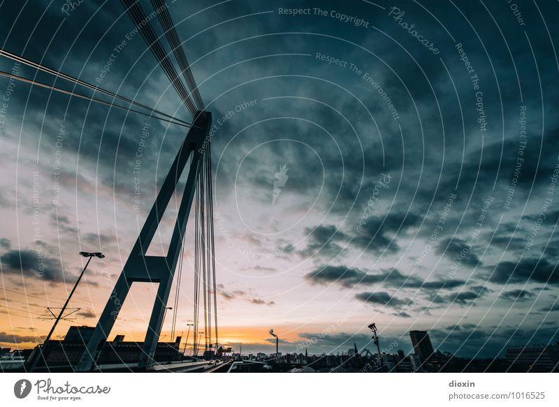 westwärts Himmel Wolken Sonnenaufgang Sonnenuntergang Sonnenlicht Mannheim Ludwigshafen Stadt Hafenstadt Brücke Bauwerk Architektur Kurt-Schumacher-Brücke
