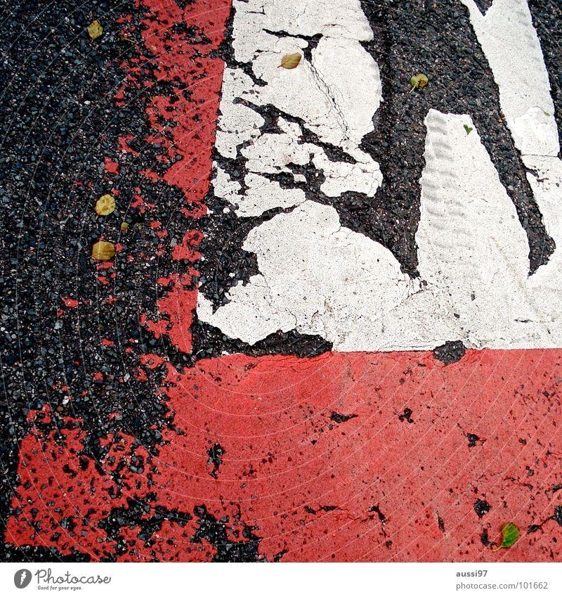 Asphalthinweis Straße Schilder & Markierungen Hinweisschild Verkehrswege Parkplatz parken Verbote abblättern Parkhaus verringern