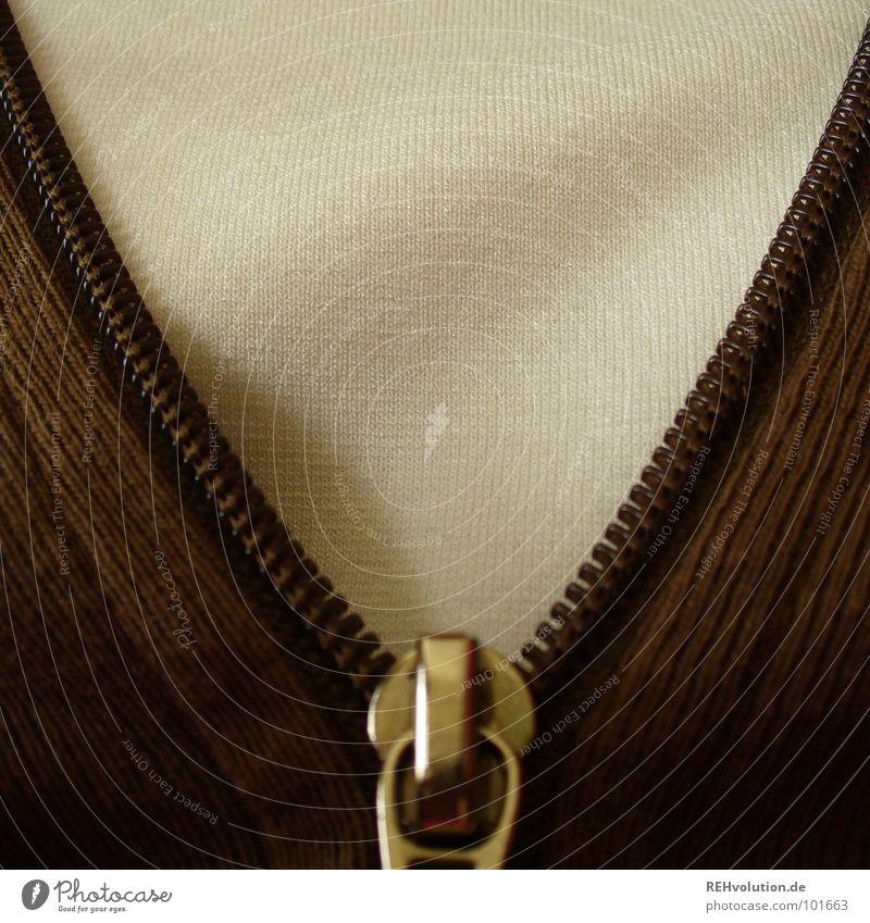 was zum aufreißen weiß Mode braun Bekleidung T-Shirt Zähne unten Jacke Brust trendy schick schließen bedecken aufmachen verpackt anziehen