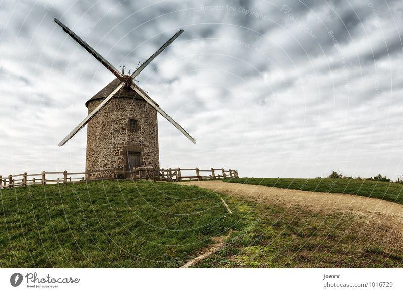 Gegner Himmel alt grün Landschaft Wolken Wege & Pfade grau braun groß Windmühle