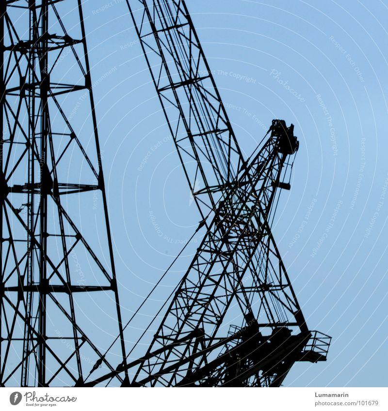 take it easy Himmel blau Kraft groß Kraft gut Baustelle Industrie Trennung Maschine leicht Gewicht Konstruktion Kran Aktien Produktion