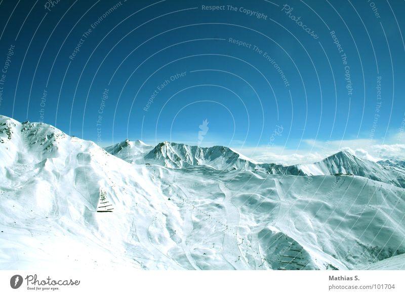 Weitblick Himmel blau weiß Winter Wolken Schnee Berge u. Gebirge Stein Arbeit & Erwerbstätigkeit Hintergrundbild groß Erfolg Tourismus Skier Gipfel Station