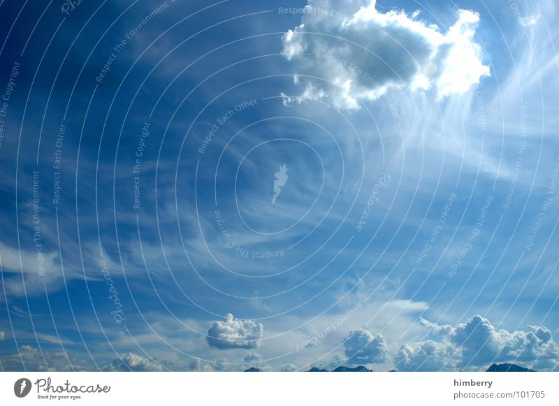 flufy sky III Himmel Sonne blau Sommer Wolken Graffiti Beleuchtung Wetter
