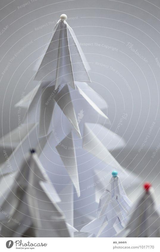 Gefaltet und verziert Weihnachten & Advent Farbe weiß Baum Landschaft Winter Wald Schnee Stil Design leuchten elegant Dekoration & Verzierung ästhetisch