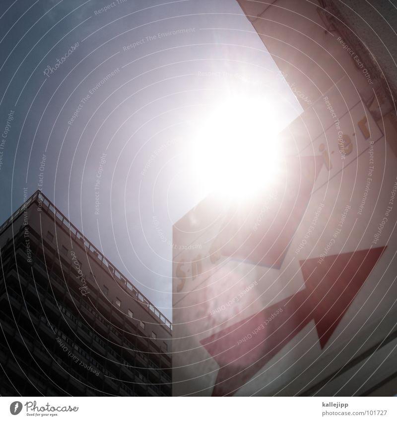 sunburn Himmel Stadt Sonne Leben Fenster Landschaft Architektur Raum Fassade Schilder & Markierungen Beton Hochhaus Klima Häusliches Leben rund Niveau