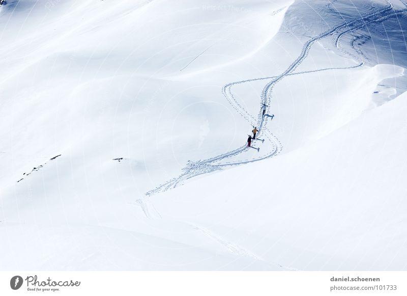 bald ist es wieder soweit !!! Tiefschnee Gletscher Skitour Gipfel Bergsteigen wandern Schweiz Skifahren Winter Wintersport Spuren weiß Hintergrundbild Ausdauer