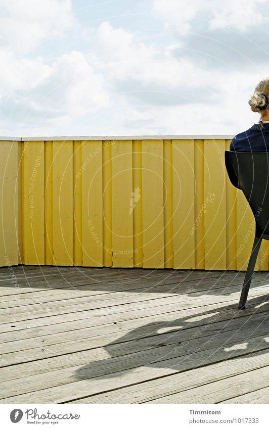 Klar. Mensch Himmel Ferien & Urlaub & Reisen Sommer Wolken kalt Gefühle feminin Holz Linie Kopf Zufriedenheit sitzen Rücken ästhetisch einfach